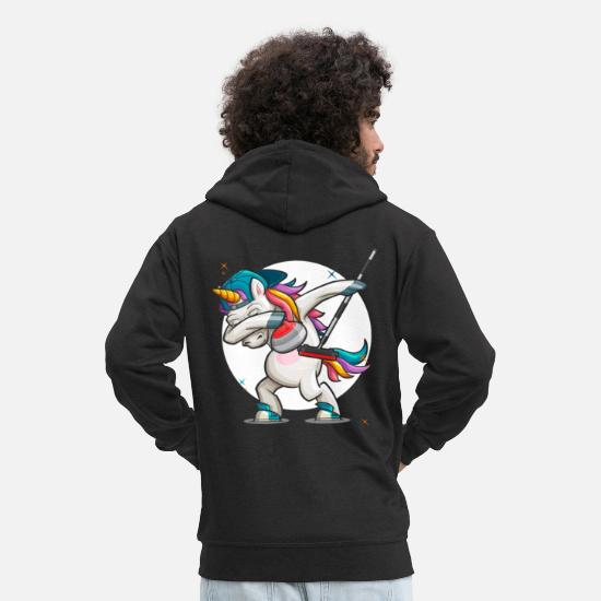 Birthday Hoodies & Sweatshirts - Dab Curling Unicorn Curling Ice Sports Gift - Men's Premium Zip Hoodie black