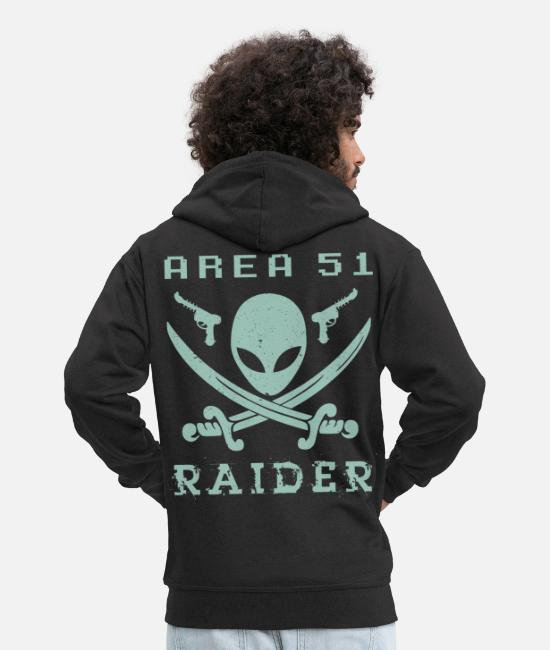 Birthday Hoodies & Sweatshirts - AREA 51 RAIDER - Men's Premium Zip Hoodie black