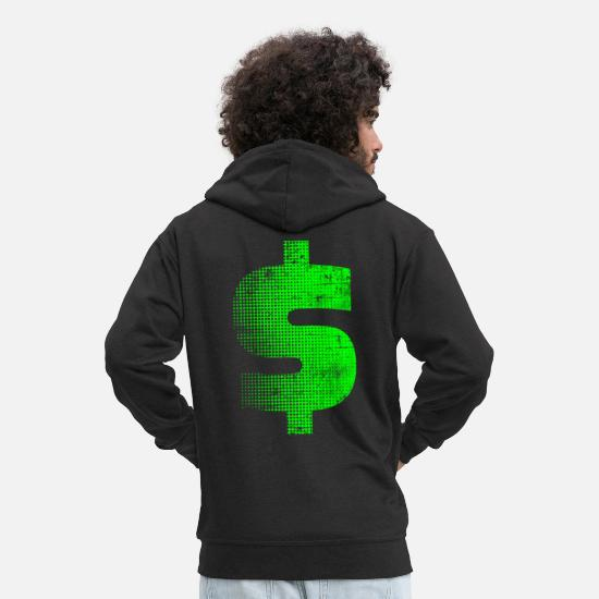 Moneygrubbing Hoodies & Sweatshirts - dollar - Men's Premium Zip Hoodie black