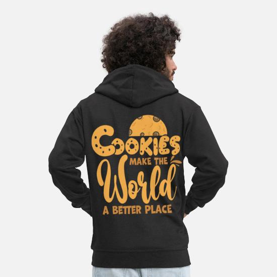 To Bake Hoodies & Sweatshirts - Cookie biscuit - Men's Premium Zip Hoodie black