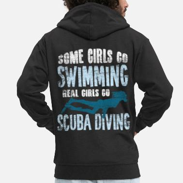 Diving Mask Diving girl - Men's Premium Zip Hoodie