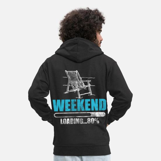 Gift Idea Hoodies & Sweatshirts - Weekend invites chair sit relax celebrate week - Men's Premium Zip Hoodie black
