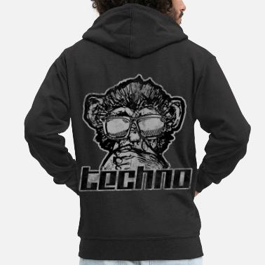 Music techno monkey melody musical instrument concert - Men's Premium Zip Hoodie