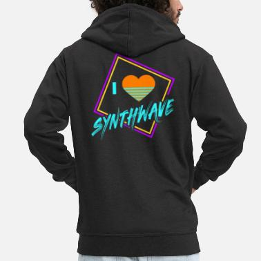 Geometric 80s Synthwave Geometric I Love Synthwave Gift - Men's Premium Hooded Jacket