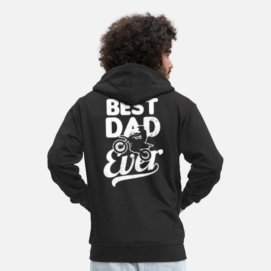Dirt Bike Hoodies & Sweatshirts - Moto Dad Best Dirt Bike Dad Ever Gift - Men's Premium Zip Hoodie black