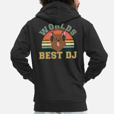 Sound Chien DJ Vintage Retro Sunset Headphone Gift - Veste à capuche premium Homme