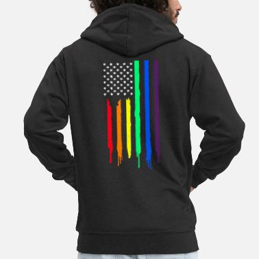 Queer LGBT Supporter America Rainbow Flag Gay Pride Gift - Men's Premium Hooded Jacket