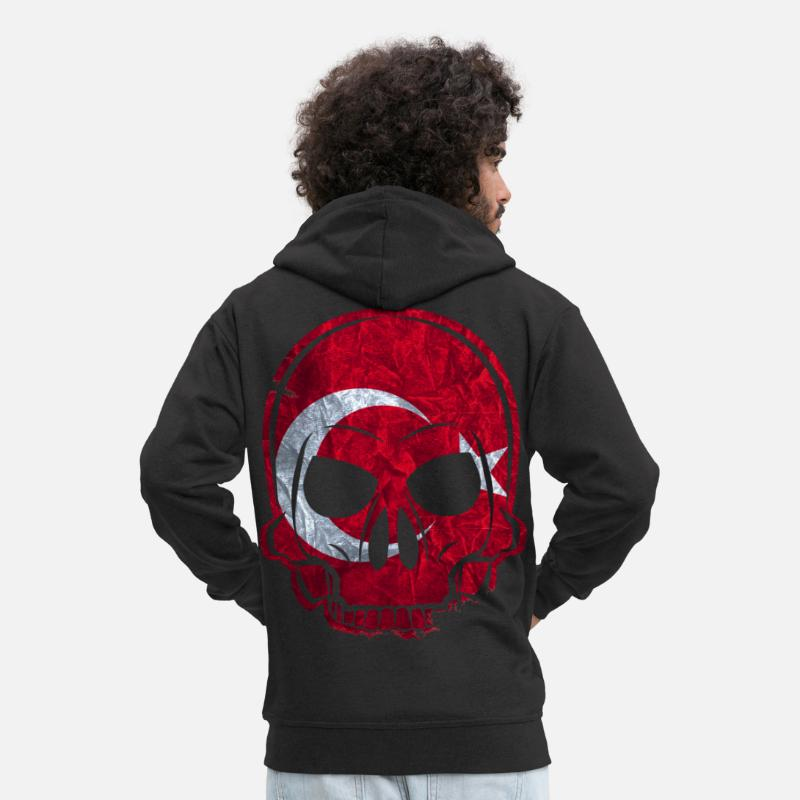 Turkey Hoodies & Sweatshirts - MMJ Turkey Flag Skull - Men's Premium Zip Hoodie black