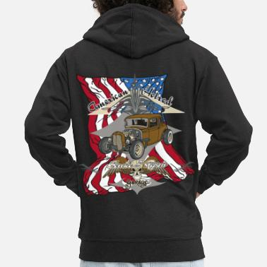 Hot Rod American Hotrod Service & Repair Garage USA Flag - Men's Premium Hooded Jacket