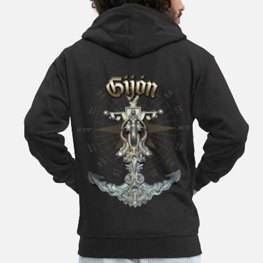 Gijón Anchor Nautical Sailing Boat Summer - Men's Premium Zip Hoodie