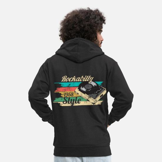 Rockabilly Hoodies & Sweatshirts - Rockabilly 50s - Men's Premium Zip Hoodie black