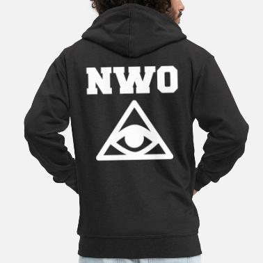 New World Order New World Order Illuminati Motif Czarny - Rozpinana bluza męska z kapturem Premium
