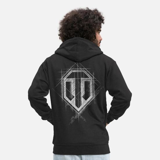 Gaming Hoodies & Sweatshirts - World of Tanks WoT Logo - Men's Premium Zip Hoodie black