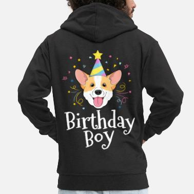Welsh Corgi Shirt For Kids Birthday Boy Dog Party Puppy - Men's Premium Zip Hoodie