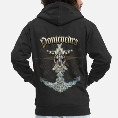 Pontevedra Anchor Nautical Sailing Boat Summer - Men's Premium Zip Hoodie