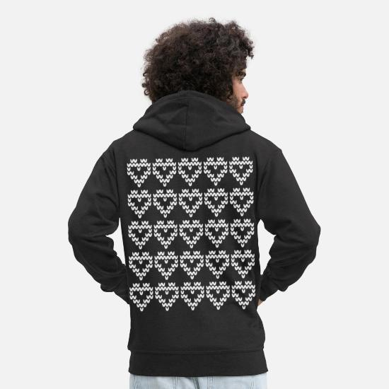 Pattern Hoodies & Sweatshirts - Hearts Pattern = Knitted Pattern = Hearts pattern - Men's Premium Zip Hoodie black