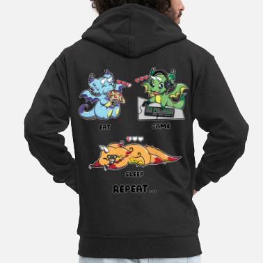 Geek Eat Game Sleep Repeat - Gaming Dragon Geek Life - Mannen premium zip hoodie