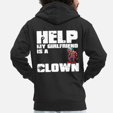 Blood Splatter My Girlfriend is a clown white - Men's Premium Hooded Jacket