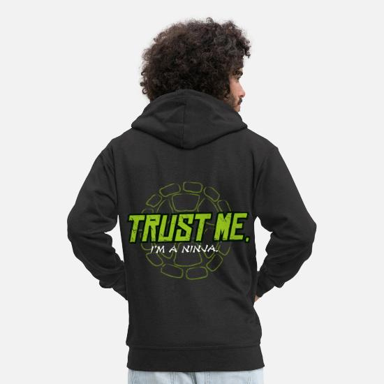 Turtle Hoodies & Sweatshirts - TMNT Turtles Trust Me I'm A Ninja Shield - Men's Premium Zip Hoodie black