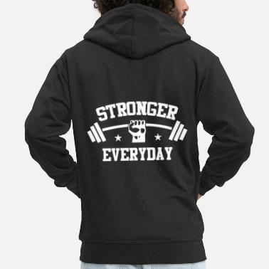 Personal Trainer Stronger Everyday Powerlifting Bodybuilding Fitnes - Men's Premium Hooded Jacket