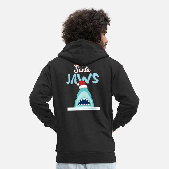 Shark Hoodies & Sweatshirts - santa jaws - Men's Premium Zip Hoodie black
