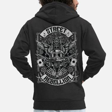 STREET REBELLION - Biker & Motorcycle Shirt Gift - Men's Premium Zip Hoodie