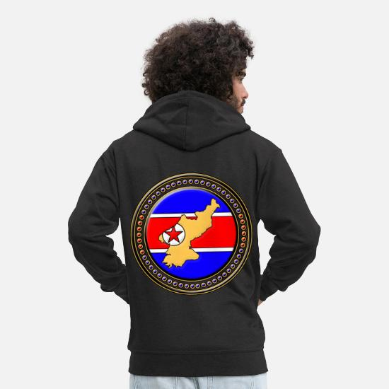 Travel Hoodies & Sweatshirts - North Korea flag map - Men's Premium Zip Hoodie black