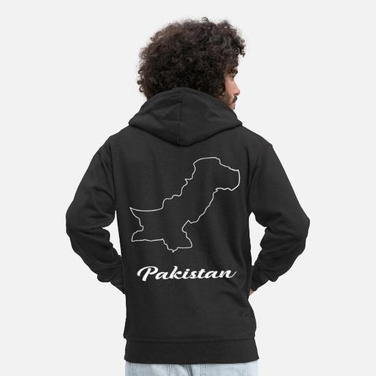 Pakistan Hoodies & Sweatshirts - Pakistan map map - Men's Premium Zip Hoodie black