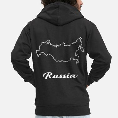 Map Russia map map - Men's Premium Zip Hoodie