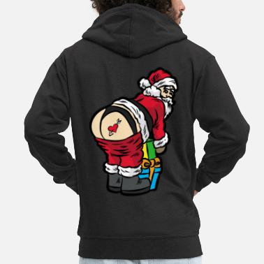 Winter Underwear Sexy Santa Claus in thong underwear - Men's Premium Zip Hoodie