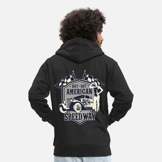 Hot Rod Tröjor & hoodies - TUNING SPEEDWAY Hotrods - Hot Rod Gift - Premium zip hoodie herr svart