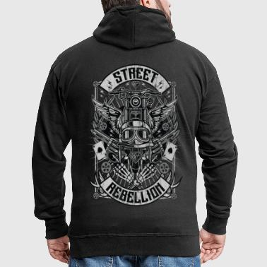 STREET REBELLION - Biker & Motorcycle Shirt Gift - Men's Premium Hooded Jacket