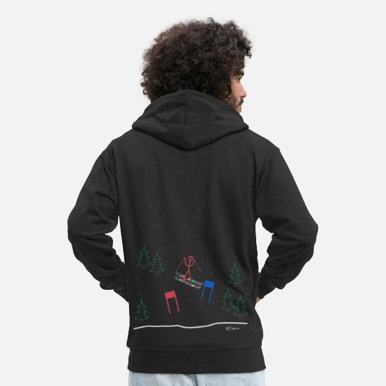 Mulled Wine Hoodies & Sweatshirts - Skier stick figure, woman slalom snow sport - Men's Premium Zip Hoodie black