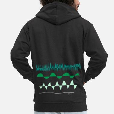 Painting Green wave, nature Friday for future climate sketch - Men's Premium Zip Hoodie
