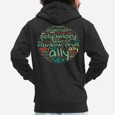 Nice Gay Word Cloud. Nice transgender Design - Men's Premium Zip Hoodie
