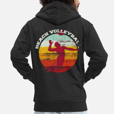 Beach Volleyball Beach volleyball colorful colors vintage - Men's Premium Zip Hoodie