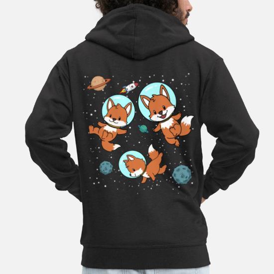 Astronaute Fox Space Space Gift Veste à capuche Premium Homme noir