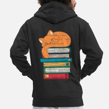 Book Book cat - Men's Premium Zip Hoodie