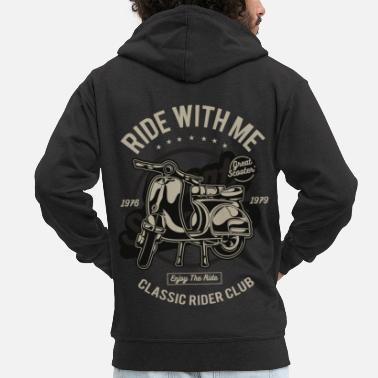 Scooter Ride With Me Scooter Pride Moped Moped Italy Retro - Men's Premium Zip Hoodie