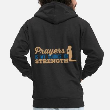 Prayers my Source of Strength - Men's Premium Zip Hoodie