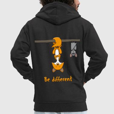 Fox and Bat: Be Different - Men's Premium Hooded Jacket