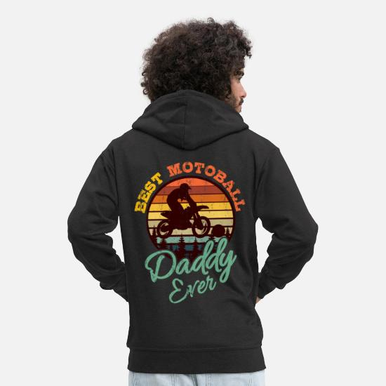 Motorsport Hoodies & Sweatshirts - MOTOBALL DAD Motocross Gift Dirt Bike Driver - Men's Premium Zip Hoodie black