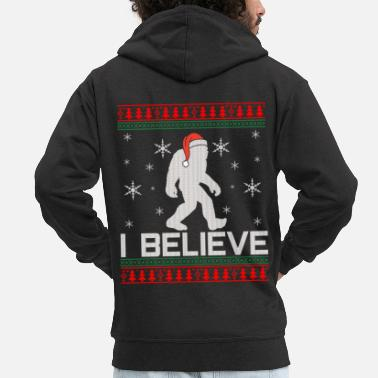 Christmas Bigfoot Christmas - I Believe Ugly Christmas - Felpa con zip Premium da uomo