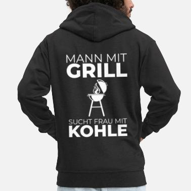 Charcoal Lighter Man with barbecue is looking for woman with charcoal saying barbecue - Men's Premium Zip Hoodie