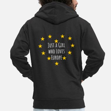London Woman power with a heart for Europe - Men's Premium Zip Hoodie