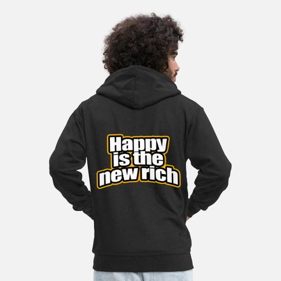 Love Hoodies & Sweatshirts - Happy Is The New Rich Happy Is The New Rich - Men's Premium Zip Hoodie black