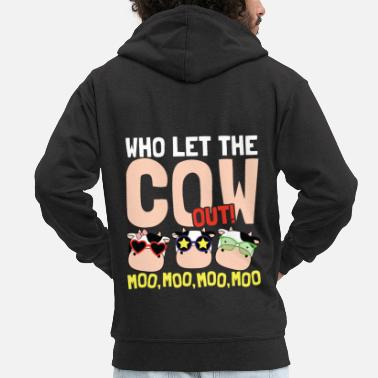 Who let the cow out - Men's Premium Zip Hoodie