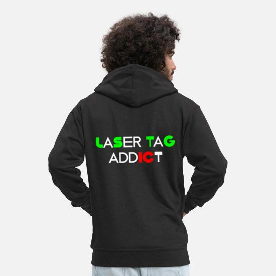 Gun Hoodies & Sweatshirts - Funny Laser Tag Party TShirt Mode On Laser tag - Men's Premium Zip Hoodie black