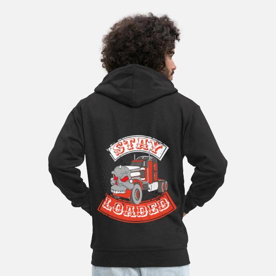 Love Hoodies & Sweatshirts - Trucker Truck driver Highway drive 9 Transport - Men's Premium Zip Hoodie black