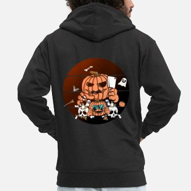 Bloody Halloween pumpkin gift costume - Men's Premium Zip Hoodie